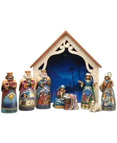Jim Shore Collectible Figurine, 9-Piece Mini Nativity Set - Holiday Lane - Macy's