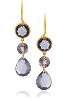 MARIE-HÉLÈNE DE TAILLAC  22-karat gold spinel and iolite drop earrings