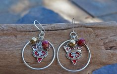 San Francisco 49ers Earrings Red and Gold Football Earrings SF 49ers Jewelry Silver Hoop Earrings Sports Earrings Superbowl Handmade Crystal by JewelrybyJacobe on Etsy
