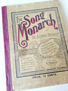 """Just listed to BellaRosaAntiques.com  Antique """"Song Monarch"""" Hymnal-Song Monarch Book, Song BOok, Antique Hymnal, Antique Song Book, Vintage Song Book, Aged Song Book, Vintage Sh..."""