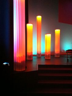Dreams---made from corrugated plastic.Column Dreams---made from corrugated plastic. Church Christmas Decorations, Stage Decorations, Christmas Ideas, Stage Set Design, Church Stage Design, Altar, Led Stage Lights, Stage Lighting, Column Lights