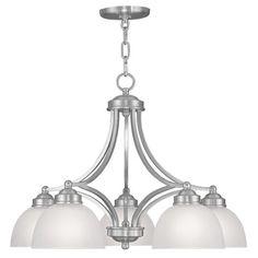 Livex Lighting Somerset 5 Light Shaded Chandelier Finish: Brushed Nickel