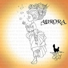 Digital stamp Aurora 'Spring Lady' 300 dpi by theeastwind on Etsy