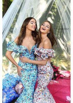 70675ac7ebd Prom 18   50306 - Ruffled off the shoulder floral mermaid dress