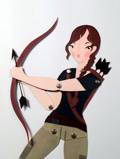 I have to get this now that I've finished reading all the books and I'm obsessed with Katniss. The Hunger Games  Katniss articulated paper doll by LeaseAPenny