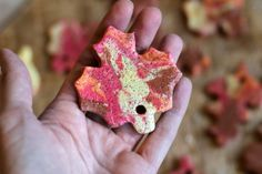 We used four different fall colors to make this beautiful marbled salt dough that made stunning leaf ornaments for our fall nature tree, and my twins (age 2.75) helped with every step!