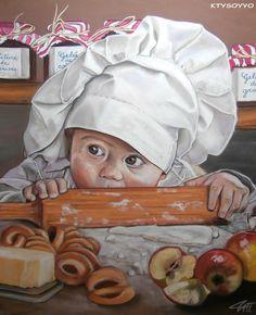 LE PETIT PÂTISSIER GOURMAND Pastel sec sur papier abrasif 50 x 60 cm http://www.artmajeur.com/catherinewernette/