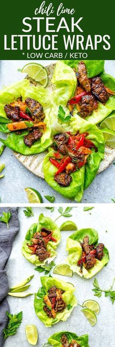 Chili Lime Steak Lettuce Wraps fresh flavorful and a healthier way to enjoy tacos or fajias! Less than 30 minutes to make with a homemade seasoning and perfect for lunch or a lightened up dinner for busy weeknights! They are also gluten free low carb Ketogenic Recipes, Paleo Recipes, Mexican Food Recipes, Low Carb Recipes, Healthy Steak Recipes, Snacks Recipes, Paleo Food, Diet Snacks, Mexican Desserts