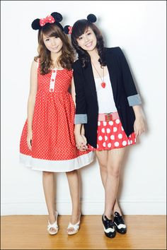 Mickey and Minnie Mouse inspired outfits.