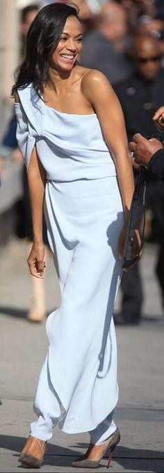 Who made  Zoe Saldana's blue one shoulder top, draped pants, and tan suede pumps?