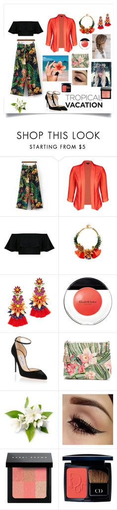 """""""Tropical Spirit!!!"""" by indstargazer0804 ❤ liked on Polyvore featuring WithChic, City Chic, Elizabeth Cole, Elizabeth Arden, Jimmy Choo, Star Mela, Bobbi Brown Cosmetics and Christian Dior"""