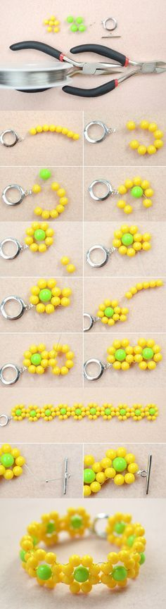 Spring Jewelry Design-How to Make a Beaded Yellow Flower Bracelet from LC.Pandahall.com