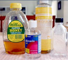 Homemade Honey Cleanser   3 Tablespoons honey 1/2 cup vegetable glycerine 2 Tablespoons liquid castile soap