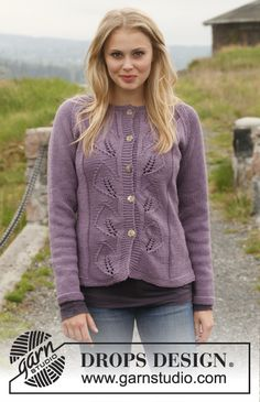 "A feminine touch! #knit jacket with leaf pattern in ""Big Merino"""