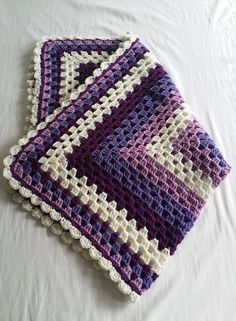 Crochet purple and white granny square by StephanieTwistedYarn: