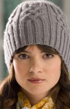 Snowtracks Cap. 1 ball of yarn, intermediate level knitting. Free pattern from Red Heart.