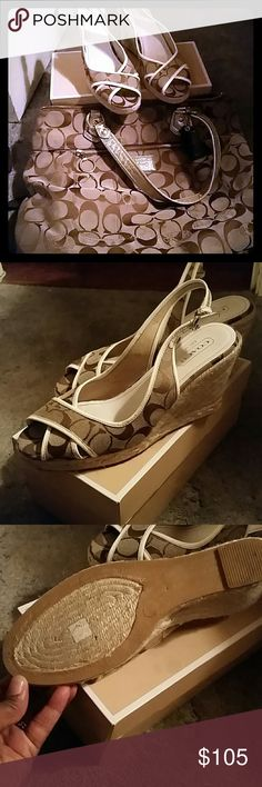 """Authentic Coach Poppy ♡♡Glam Purse and Platforms Good Condition Brown Signature """"C"""" platform sandals and matching Coach Poppy  purse used condition needs cleaning inside and out...pen marks and inside of straps some gold may have worn off (see pics) but lot of life left comes with Dust bag  No LOW-BALL OFFERS. ..PRICE FIRM Coach Bags Shoulder Bags"""