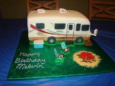 Motorhome Motorhome for my father-in-laws birthday 70th Birthday, Girl Birthday, Birthday Parties, Fishing Theme Cake, Camper Cakes, Camping Theme, Retirement Parties, Themed Cakes, Motorhome