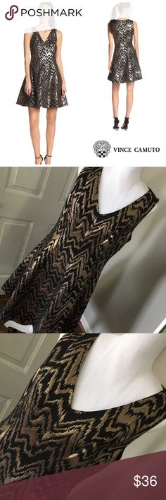 """Vince Camuto Size 12 Fit & Flare Dress NWOT Gorgeous fit & flare gold and black dress from Vince Camuto in size 12. It is NWOT- I bought it for my daughter and she had gained a couple of pounds so it did not fit and I never returned it. Fabric is 60% poly, 32% cotton, 8% metallic fiber and dress is fully lined. Length is 38.5"""", pit to pit flat across the back measures 19.5"""" and waist is 17"""" across flat across. Thank you for looking! ☺️ 🚫trades 🚫lowball offers Vince Camuto Dresses"""