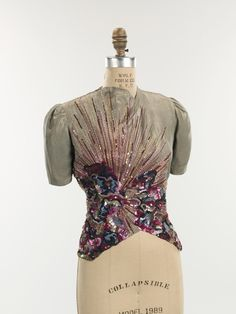 I can see you in this gorgeous sequined evening blouse from Schiaparelli's Fall-Winter 1938-1939 Collection!