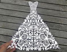 Wedding Dress Papercut PDF Template and SVG File