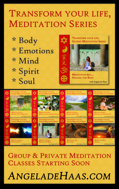 When attending major trade shows this year Angela de Haas required banners, business cards and other branded materials as she unified her presentation. This is the banner promoting her series of 8 meditation CD's.