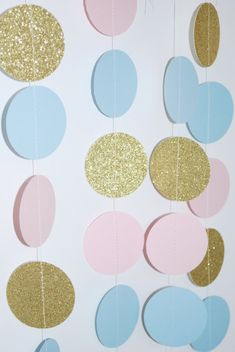 Gender Reveal Paper Garland Pink and Gold Garland by PartyFix