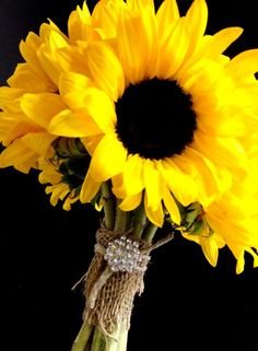 Sunflower Bouquet with a Burlap and Bling Handle