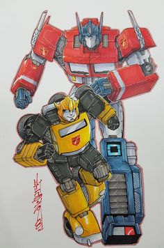 G1 Optimus and G1 bubblebee