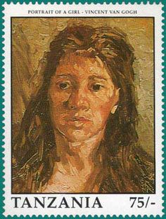 Head of a Woman with her Hair Loose, 1885  by Vincent Van Gogh. Post stamp from Tanzania