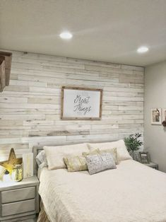 DIY Wood Wall with Weaber Lumber master bedroom idea. Feature wall behind the bed. Could use pallet wood.