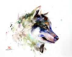 Wolf watercolor painting print  Wolf art dog art by SlaviART