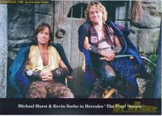 Kevin Sorbo and Michael Hurst on the set of Hercules: The Legendary Journeys.