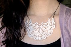 Doily Necklace....I'd like to do this, but I will make my own handmade doily instead of a store bought one, add a few beads maybe, stain it up to make it more vintage
