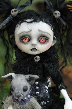 OOAK gothic fairy tale monster Dorothy posable art doll A.Gibbons goth DMA