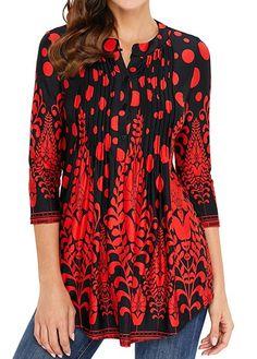Buy Miskely Women's Paisley Printed Sleeve Henley V Neck Pleated Casual Flare Tunic Damask Irregular Hem Blouse Shirt online - Findamazingstar Red Blouses, Shirt Blouses, Tunic Blouse, Formal Blouses, Fashion Blouses, Long Blouse, Trendy Tops For Women, Blouses For Women, Stylish Tops