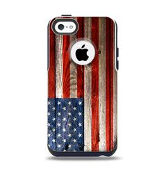 The Wooden Grungy American Flag Apple iPhone 5c Otterbox Commuter Case Skin Set from DesignSkinz