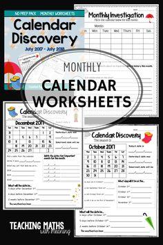 Monthly Calendar Worksheets, updated every year! https://www.teacherspayteachers.com/Product/Calendar-Worksheets-294113