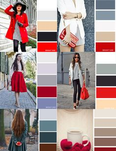 Vermelho é sempre um charme, mas nós mulheres sabemos que para combinar essa c… Red is always a charm, but we women know that combining this color is not easy, and we always opt for black and red or White and red. But this color chart is wonderful. Colour Combinations Fashion, Color Combinations For Clothes, Fashion Colours, Colorful Fashion, Color Combos, Autumn Fashion Women Fall Outfits, Fashion Outfits, Wardrobe Color Guide, Color Pairing