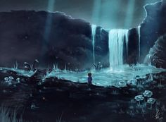 Down in Waterfall by CrazyAndFallenForArt on DeviantArt