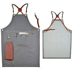 Gray Denim Bib Apron w/Leather Strap Barista Baker Bartender BBQ Chef Uniforms | Home & Garden, Kitchen, Dining & Bar, Linens & Textiles | eBay!