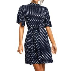 Aunimeifly Women Polka Dot Print Dress Ladies Turtle Neck Ruffled Sleeve Waist Bandage Dresses Belt Strappy Sundress Boho Summer Dresses, Summer Dresses For Women, Dress Summer, Vestido Dot, Short Sleeve Dresses, Dresses With Sleeves, Women's Dresses, Bandage Dresses, Work Dresses