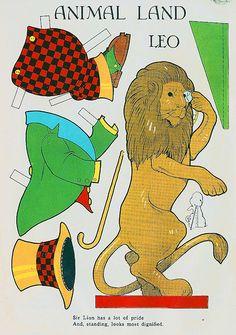 Vintage Paper Doll, Lion #leo #lion Circus Crafts, Circus Art, Vintage Paper Dolls, Vintage Toys, Circus Decorations, Paper Art, Paper Crafts, Paper Dolls Printable, Paper People