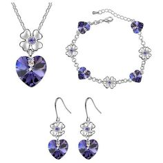 Babao Jewelry Brandish Heart 18K Platinum Plated Swarovski Elements... ($35) ❤ liked on Polyvore featuring jewelry, crystal jewelry sets, cz jewelry, 18k jewelry, heart jewelry and purple jewelry sets