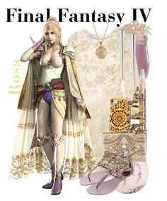 """Rosa Joanna Farrell from Final Fantasy IV (Dressed Up)"" by imanirine ❤ liked on Polyvore featuring Chantecaille, Nina, Oscar de la Renta, L'Oréal Paris, Forever Unique, 2028, René Caovilla, Erickson Beamon and Steve Madden"