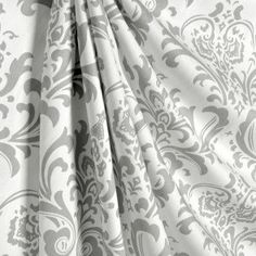 one pair of white and gray damask curtains by EllaBellaFabric on Etsy