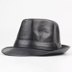 5d175611026 Men Winter Vintage PU Leather Thin Jazz Cap Curved Brim Jazz Cap British  Style Warm Fedora Hat is hot sale on Newchic.
