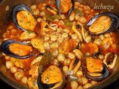 Garbanzos con mejillones Güveç yemekleri – Güveç yemekleri – Las recetas más prácticas y fáciles Seafood Recipes, Mexican Food Recipes, Cooking Recipes, Healthy Recipes, Ethnic Recipes, Seafood Meals, Spanish Recipes, Pork Hock, Pork Fillet