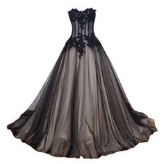 Kivary Long Black and Champagne Lace Gothic Prom Wedding Dresses ❤ liked on Polyvore featuring dresses and wedding dresses