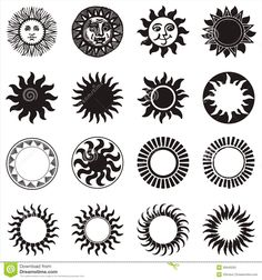Photo about Set of vector Sun icon. Illustration of weather, symbol, logotype - 35640203 Black Sun Tattoo, Sun Tattoo Tribal, Mandala Tattoo, Mandala Art, Flame Tattoos, Bear Tattoos, Sun Tattoos, Sun Tattoo Designs, Sun Designs